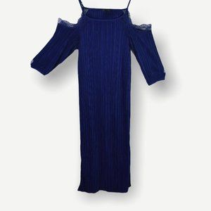 Topshop Blue Off Shoulder Ribbed Dress Size 2